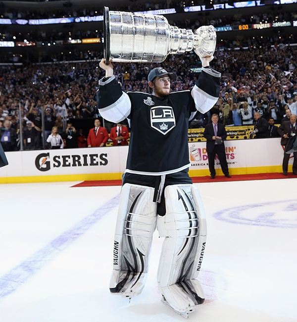 APRIL 30: CROWN JEWEL -- Jonathan Quick's Los Angeles Kings entered the playoffs as the lowest seed in the conference but lost just four times as they won the first Stanley Cup in the 45-year history of the franchise. The star goalie received the Conn Smythe Trophy as the playoffs' most valuable player after posting a sparkling 1.41 goals-against average and .946 save percentage. (Photo by Bruce Bennett/Getty Images)