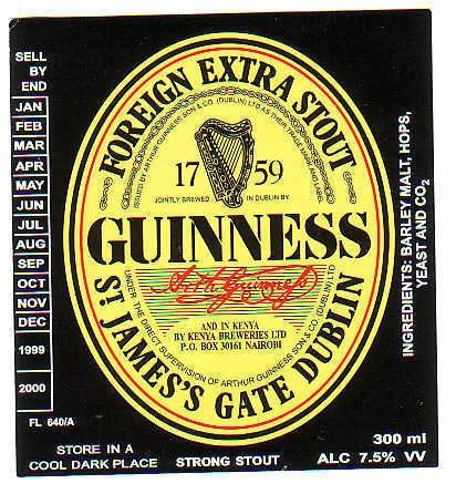 Guiness Stout Label Kenya (con imágenes) Etiquetas de