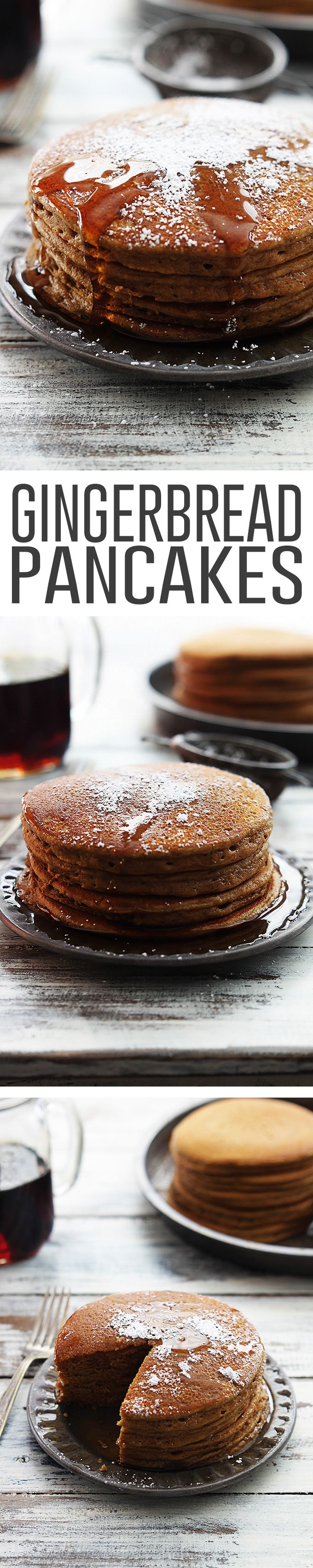 Fluffy Gingerbread Pancakes with Cinnamon Maple Syrup.