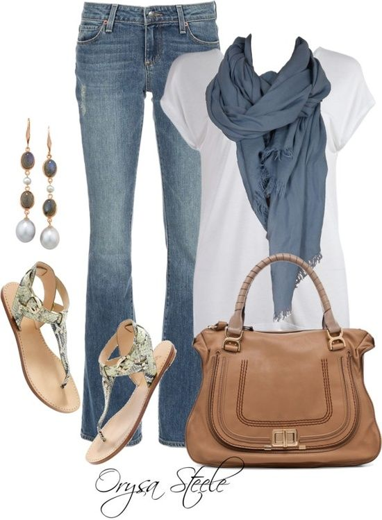 Love every piece in this outfit. Love the blue scarf, white tee and jean color. Stylist....please send this for April!