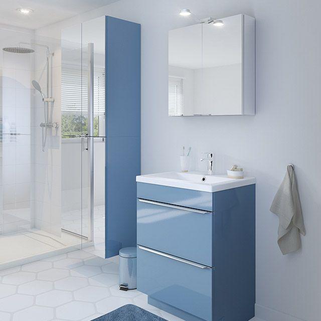 Meuble De Sdb A Poser Bleu 60 Cm Imandra Vasque Nira Castorama Meuble Sous Vasque Armoire Murale Meuble Salle De Bain