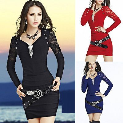 Sexy Womens Lace Deep V-neck Long sleeve Slim Mini Dress Party ClubWear Cocktail