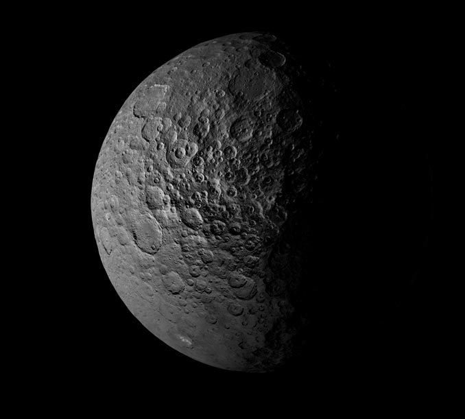 Cratered Ceres 3/24/17Astronomy Now This stunning view the cratered surface of dwarf planet Ceres comes from NASA's Dawn spacecraft. Mission scientists believe water ice deposits exist in within some of the craters where parts are in permanent shade