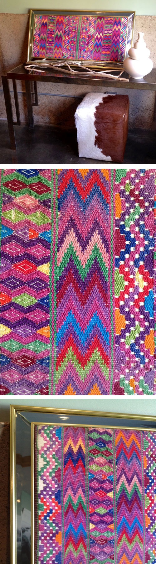 Framed Guatemalan textiles - I'd use a different frame for my decor but love this idea.