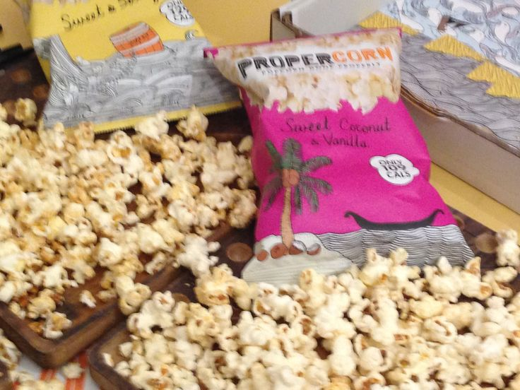 Propercorn -  a cool pop up shop at lfw. Yummy popcorn which is made in Britain.  Only 129 calories, gluten & wheat-free, suitable for vegans! Our favourite is sweet and salty!