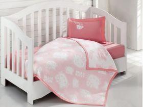 Постельное белье с покрывалом для новорожденных Hello Kitty BEBE розовое