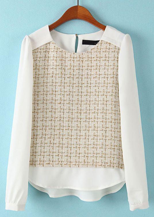 Beige White Long Sleeve Plaid Chiffon Blouse - Sheinside.com