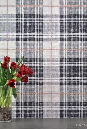 AKDO mosaic tile, Balmoral Plaid in Tulip black.