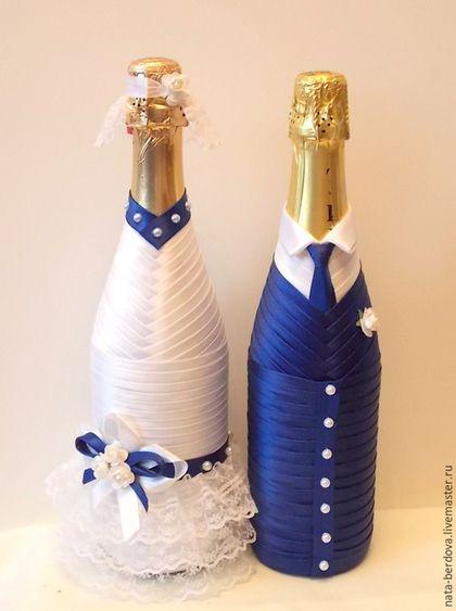 Купить или заказать Украшение на свадебные напитки 'Жених и невеста' в интернет-магазине на Ярмарке Мастеров. Декор на свадебные напитки для молодоженов 'Жених и невеста'. Декорированы атласной лентой, кружевом, бусинами. На заказ возможны любые цветовые сочетания. В декор по вашему желанию можно внести некоторые изменения. Декор на бутылках не съемный. Цена указана за декор двух бутылок.
