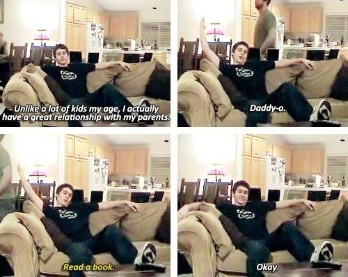 One of Dylan's early vids shot at home - His dad is walking through the room - SOOO Funny and Sooo Dylan lol