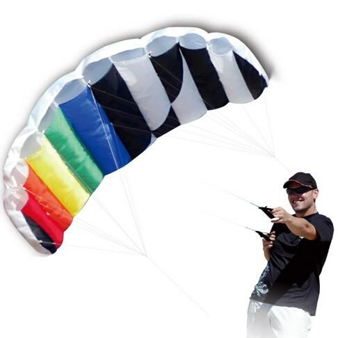 New High Quality 1.4 m Dual Line Parafoil Kite With Control Bar Line Power Braid Sailing Rainbow Sports Beach Good Flying