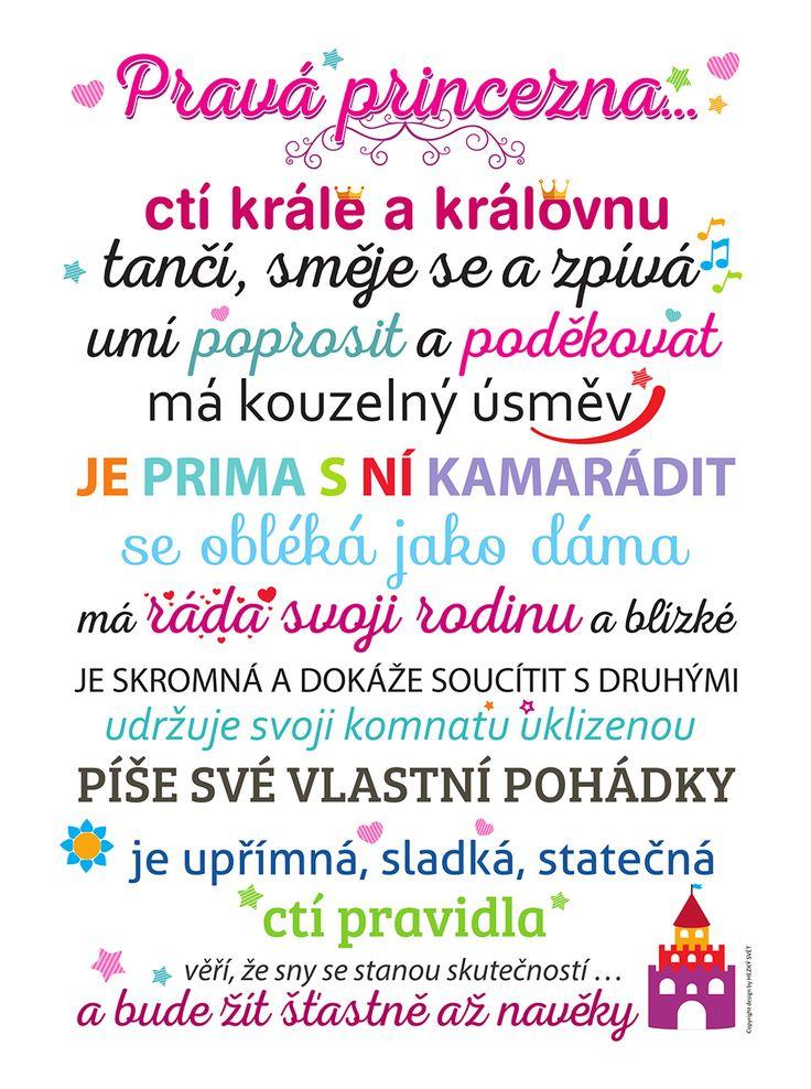 Bílý plakát  HEZKÝ SVĚT Princezna, 379 Kč #cedule #dárky #vánoce #děti #rodina #tip3dmámablog.cz