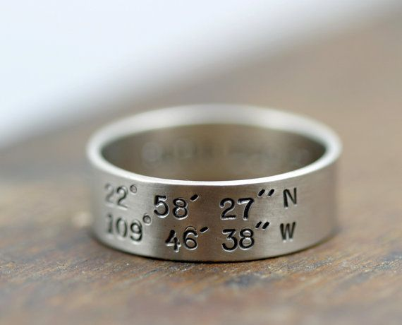 Latitude and longitude coordinates hand stamped for a unique wedding band. Personalized and custom with your wedding location, first date restaurant coordinates, or any other place special to you!