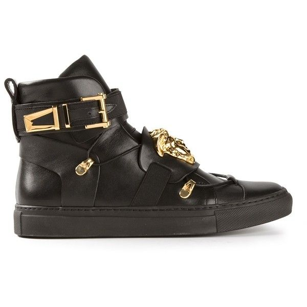 VERSACE Medusa embellished hi-top sneakers ($970) ❤ liked on Polyvore featuring shoes, sneakers, black sneakers, black hi tops, versace sneakers, black high tops and black laced shoes