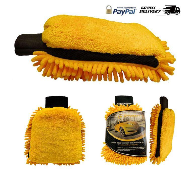 Microfiber Car Wax, Polish and Dusting Mitt, Dual-sided, Thicker Polishing Spong #Dynamitt