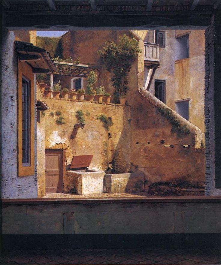 Christoffer Wilhelm Eckersberg - A Courtyard in Rome, ca. 1813-1816