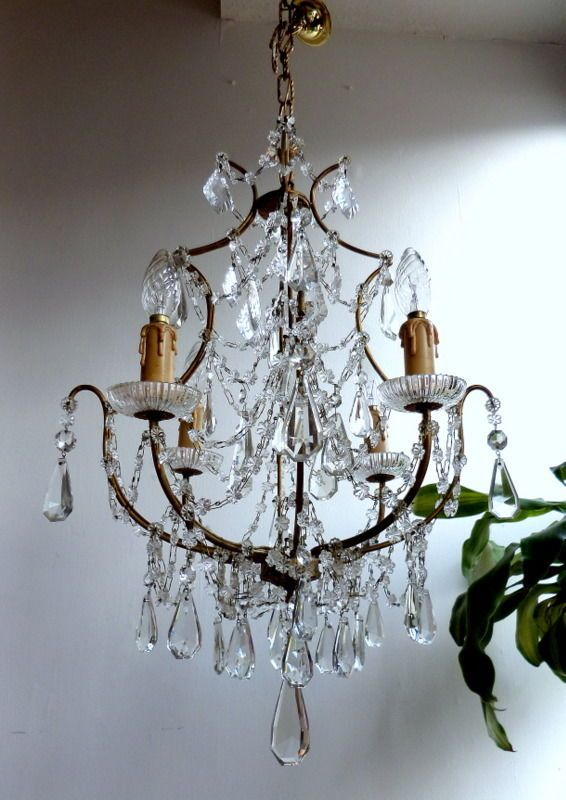 BEAUTIFUL LARGE FRENCH VINTAGE CRYSTAL~BRASS CAGE CHANDELIER C1930s