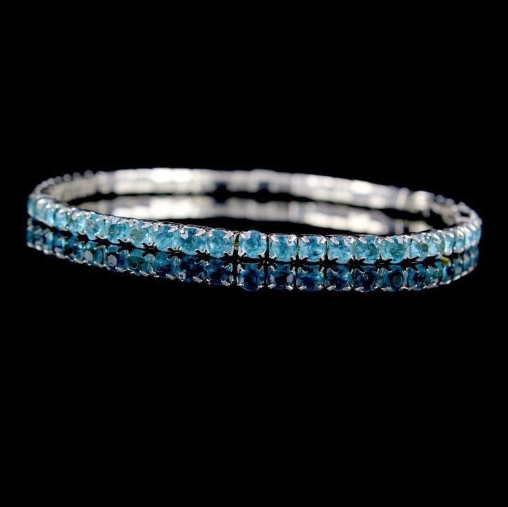 Aqua Rhinestone 14k White Gold GP Stretch Line Bracelet $50 #jpjewels8 #Stretch #qvcx
