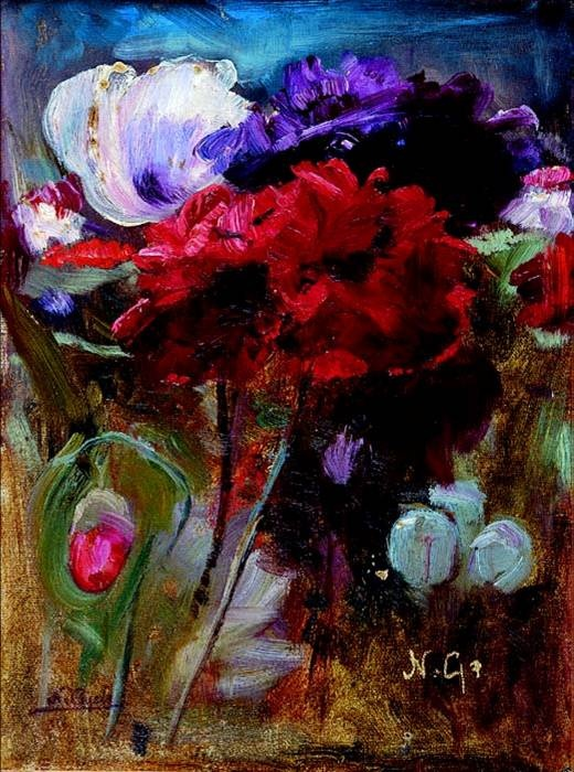 Nikolaos Gyzis, Poppies and tulips. Believe me when I say that, both poppies and tulips in this painting are honoured throughout the ages because Gyzis decided to paint them in a still nature...