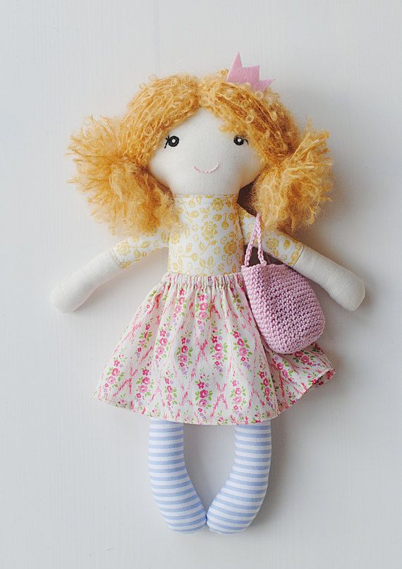 Rag doll cloth doll Rosa by pompondolls on Etsy