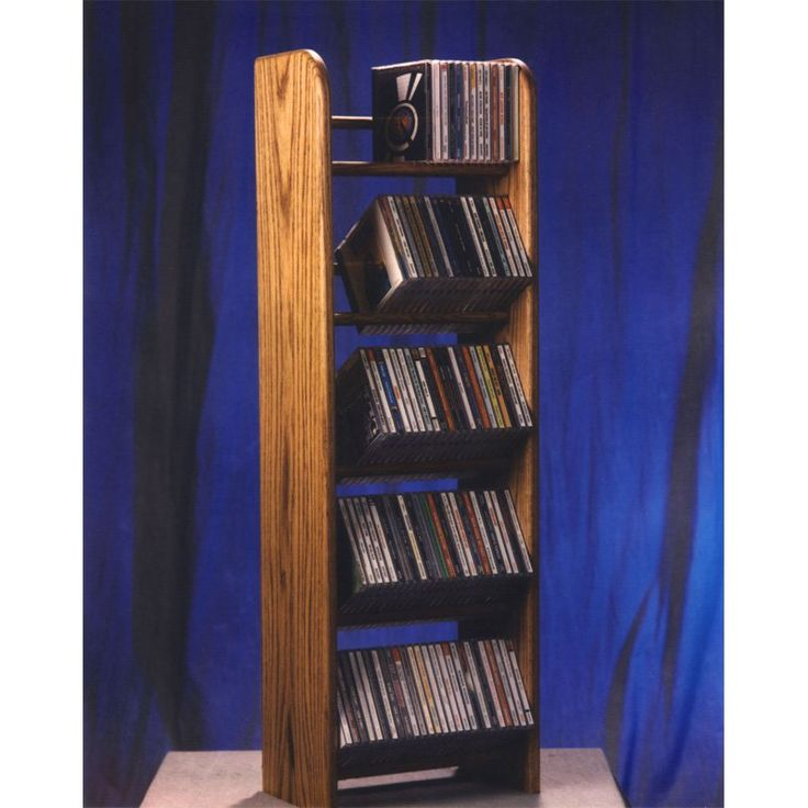 The Wood Shed Solid Oak 5 Row Dowel 130 CD Media Rack Dark Oak - 504D