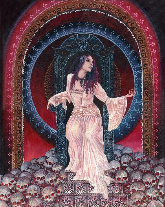 """""""Persephone - Queen of the Underworld"""" A print of the original painting by Emily Balivet, 2010.  Printed on matte Kodak Endura paper, the print measures 16x20 with a .5"""" white border allowance. The print is signed and dated on the back and ships flat."""