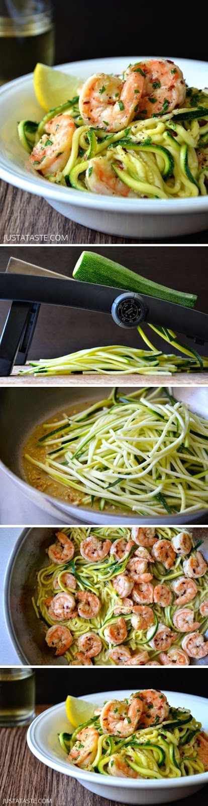 Skinny Shrimp Scampi with Zucchini Noodles #recipe from @justataste