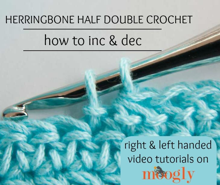 The Herringbone Half Double Crochet is a fantastic stitch - here's how to make it, and how to shape it! Right and left handed video tutorials on Mooglyblog.com!