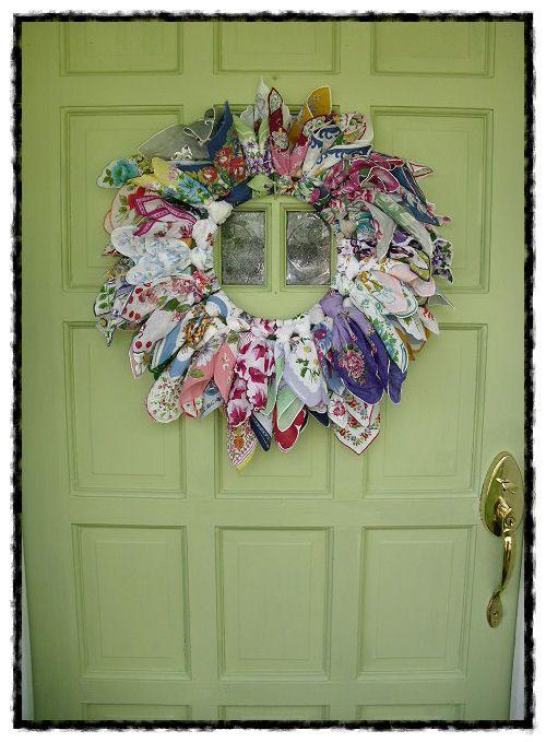 vintage old hanky hankie wreath