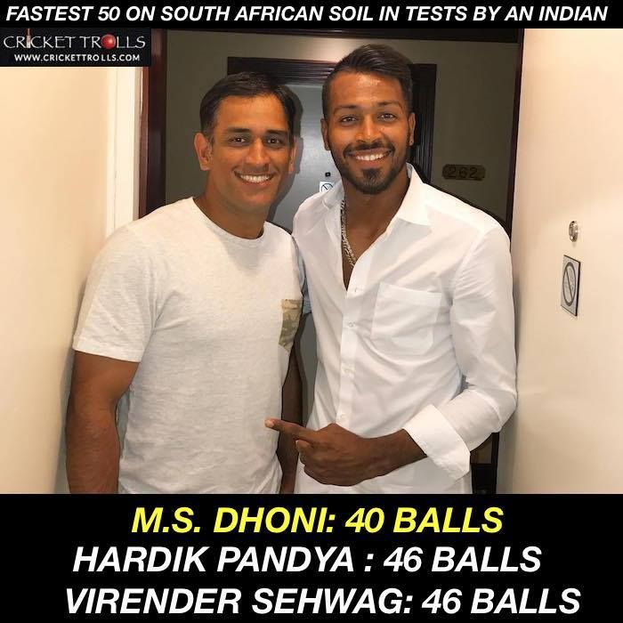 Hardik Pandyas fifty off 46 balls is the joint 2nd fastest by an Indian in Test cricket on the South African soil. #SAvIND #1stTest - http://ift.tt/1ZZ3e4d