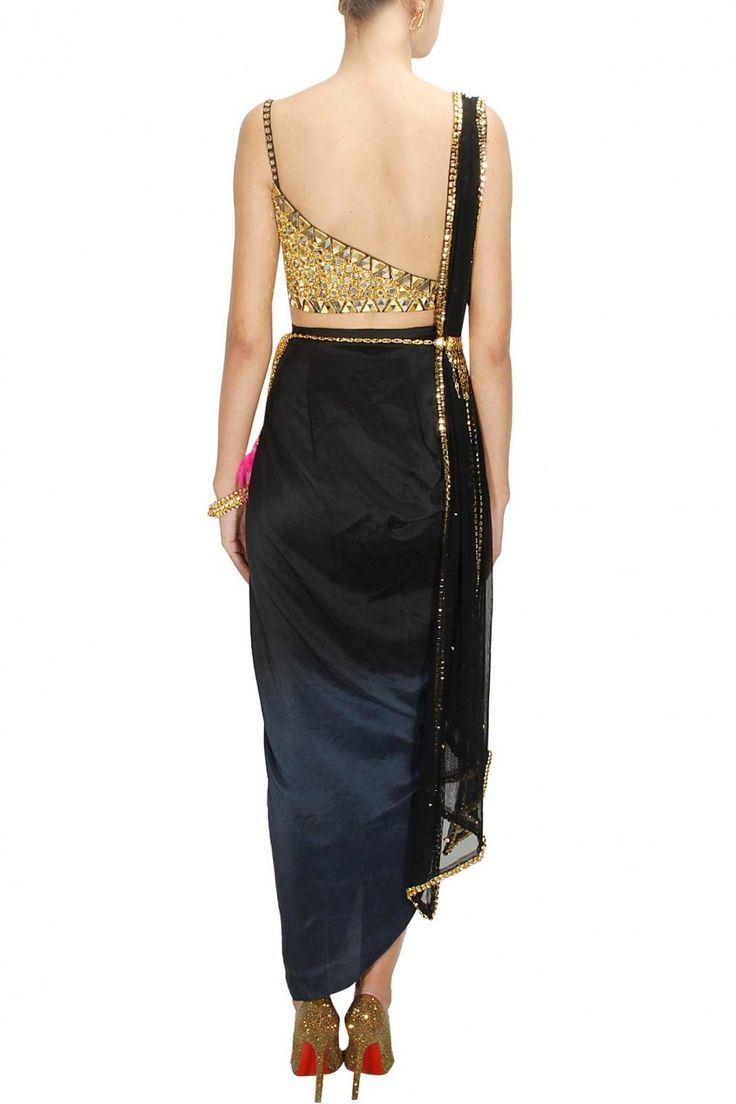 PAPA DON'T PREACH Black mirror embroidered choli with black ombre dyed wrap skirt and dupatta available only at Pernia's Pop-Up Shop.