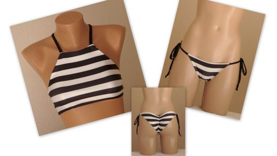 PADDED..Black and white stripe high neck halter bikini top and matching scrunch bottoms-Bathing suit-Yoga top-High neck bikini top-Plus size