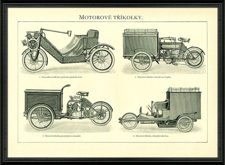 Kresby historických motorových tříkolek, např. známý Phänomobil - otevřená dvoumístná tříkolka s dvouválcovým motorem vpředu a pohonem předního kola vyráběná v letech 1907 až 1912