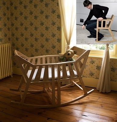 Clever! A baby cradle that can become two rocking chairs when you don't need it anymore.