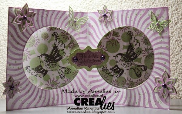 Made by Annelies: https://www.crealies.nl/detail/1231249/15-02-27-annelies.htm Crealies items: Crealies Create A Card no. 11 Download CCAC no. 11 Download no. 1 Masks & More no. 17 Gedraaide zonnestralen/Sunburst curved Masks & More no. 19 Grote cirkels/Big circles Bits & Pieces no. 19 Flowers 3 Set of 3 stansen no. 22 Bloemen 13/Flowers 13 Crealies Duo Dies no. 22 Bloemen 13/Flowers 13 Crealies Duo Dies no. 5 Vlinders 1/Butterflies 1 Crealies Duo Dies no. 17 Duo Labels 4