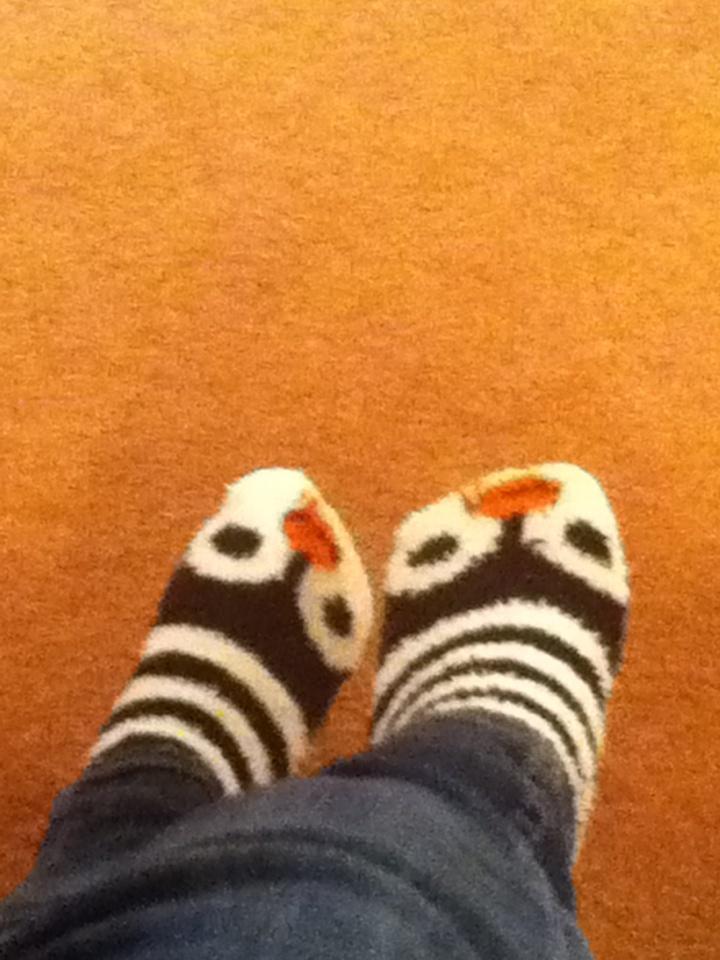 Fuzzy penguin socks!!!!!!!!!!!!