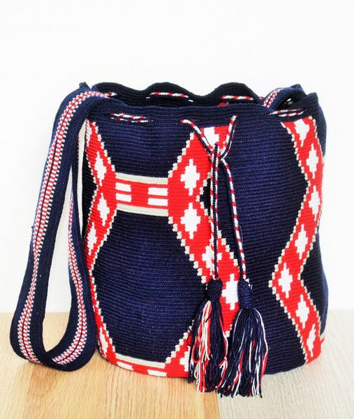 NAVY BLUE WAYUU MOCHILA BAG, BUCKET BAG