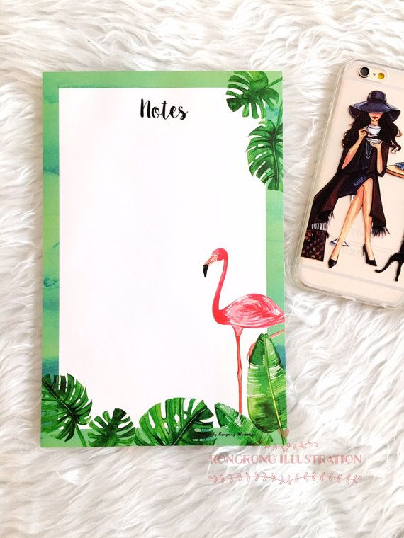 Flamingo Notepad To do list notepad Memo by RongrongIllustration