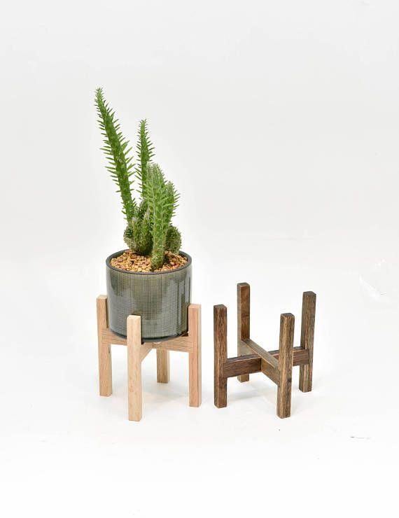 Mid Century Modern Planter Stand with Ceramic Pot Indoor