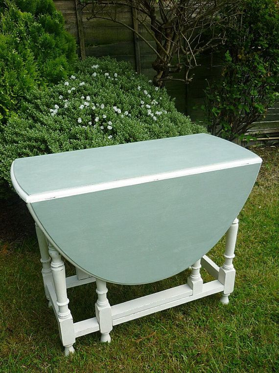 Vintage Drop Leaf Table Hand Painted In Duck Egg Blue And Old White More