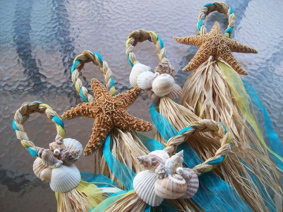 #Starfish and Raffia Chair Hangers  #BeachWedding #Decor by OneFunDay - Re-pinned from Forever Friends Fine Stationery & Favors http://foreverfriendsfinestationeryandfavors.com