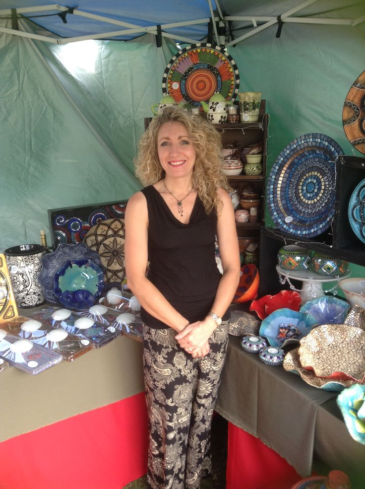 All set up for the Christmas market of the year. Lisa B's ceramics and mosaics.
