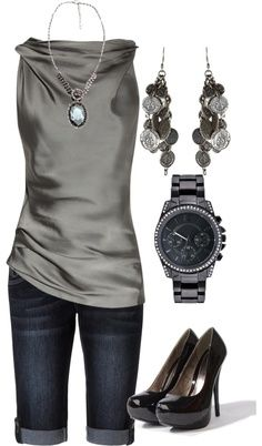 Love the material and drape of shirt. love the earrings. no watch needed. like the dark shorts. pumps would be a bit much but like the idea of a dressier shoe.