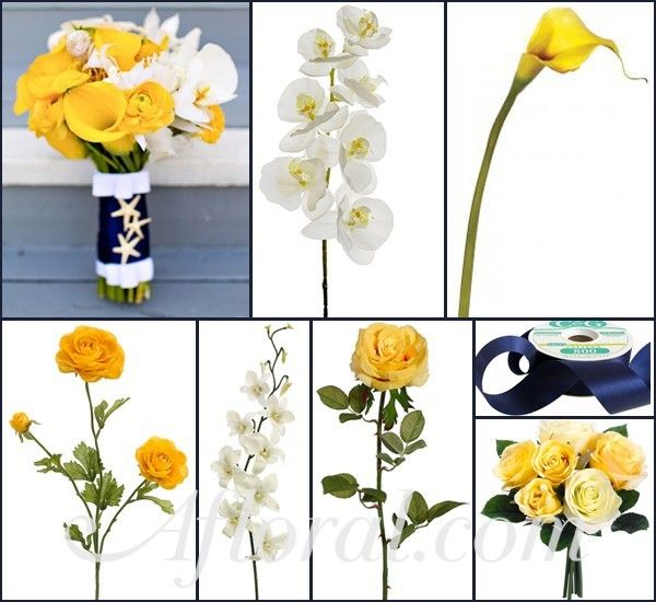Yellow & Navy Nautical Wedding Flowers, Navy Blue and Yellow Wedding,Navy Blue and Yellow Bouquet, Nautical Wedding ~ Nickie's Inspiration Board  http://www.afloral.com/Silk-Flowers-Artificial-Flowers-Fake-Flowers?search=yellow+