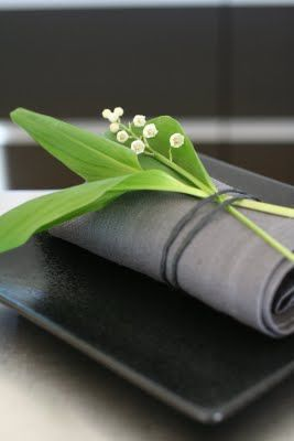 elegant - lily of the valley on black....my favorite flower even!!! Love the simple elegance of this look
