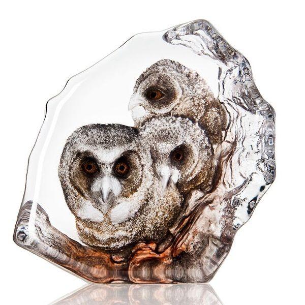 Owlets Painted Crystal Sculpture | 34201 | Mats Jonasson Maleras