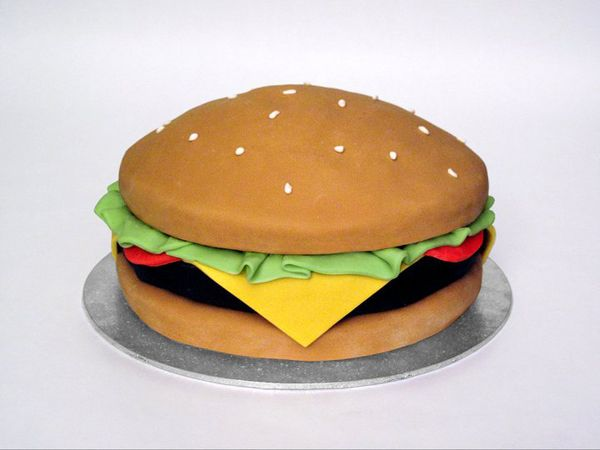 It's a burger!  Cake by Rock Bakehouse