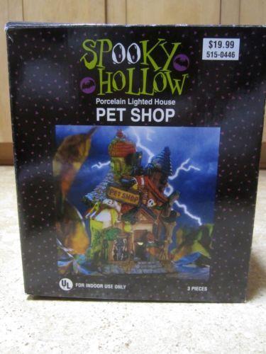 spooky hollow village 2000 pet shop light up house halloween decoration - Halloween Decorations Ebay