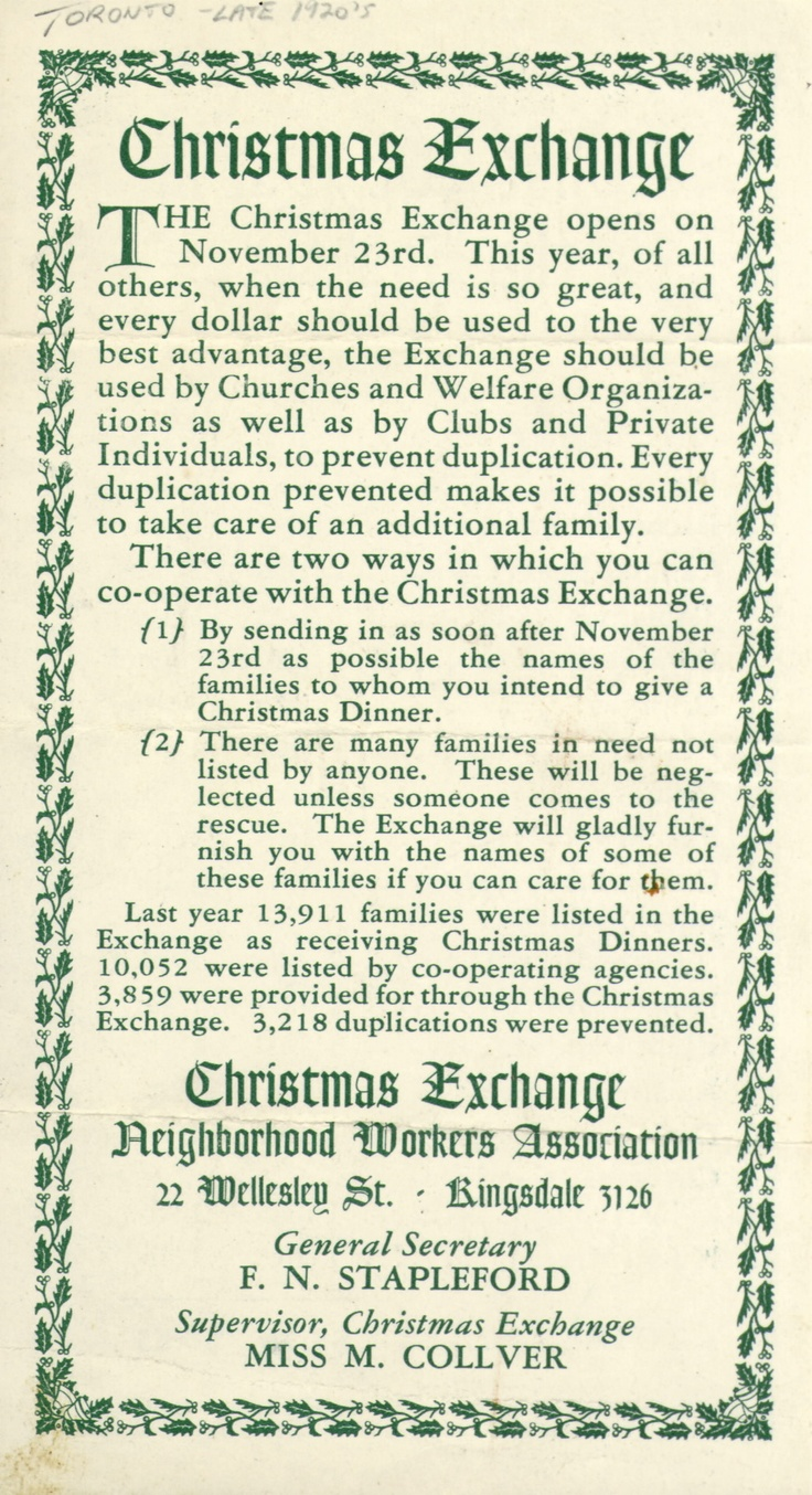 This leaflet from the 1920s advertises a Christmas exchange hosted by the Neighbourhood Workers Association: members of the community co-operated to provide Christmas dinner to families in need.