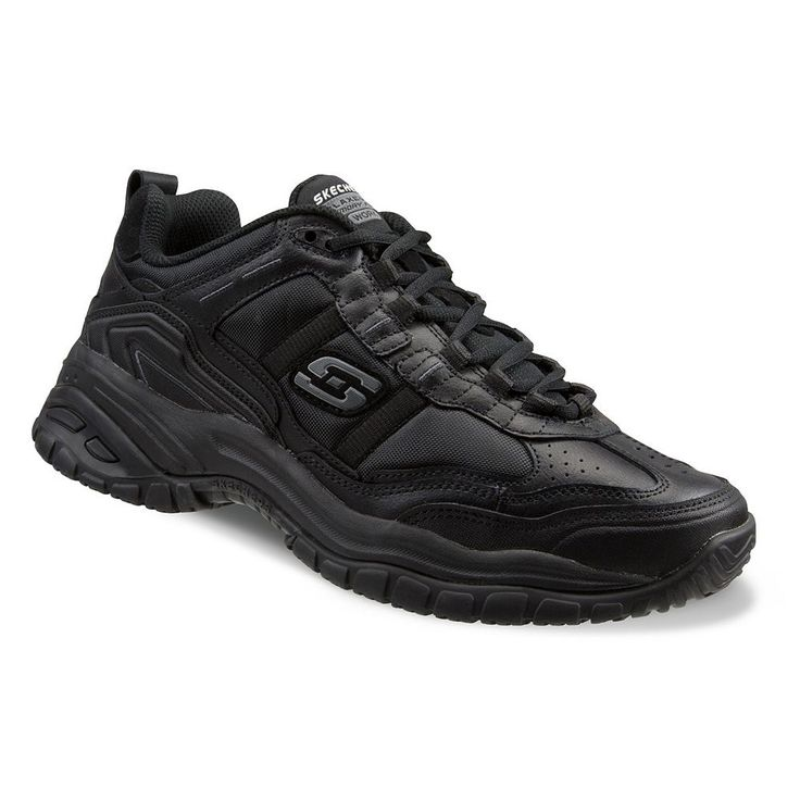 Skechers Work Relaxed Fit Soft Stride Mavin Men's Utility Shoes, Size: 10.5 Wide, Grey (Charcoal)